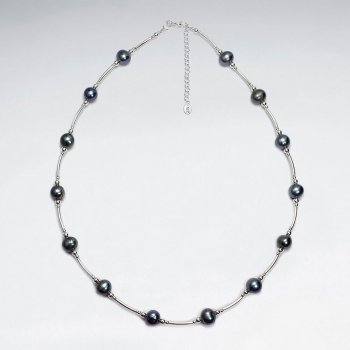 "16.5"" Adjustable Gorgrous Sterling  Silver and Pearl Necklace"