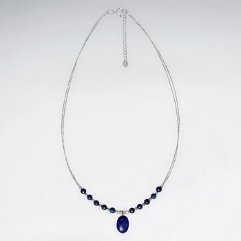 "16.5"" Adjustable Lapis Lazuli Beaded Drop Charm Necklace in Sterling Silver"