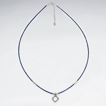 "16.5"" Adjustable Lapis Lazuli Necklace With Diamond Cutout Pendant"