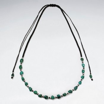 "16.5"" Adjustable Lovely Black Macrame Waxed Cotton Necklace With Turquoise and Silver Charms"