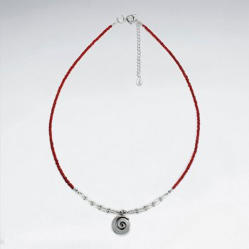 "16.5"" Adjustable Lovely Sterling Silver Red Glass Bead Necklace With Silver Shell Charm Pendant"