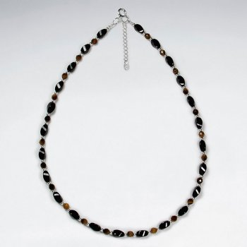 "16.5"" Adjustable Majestic Black Stone Bead Necklace in Sterling Silver"