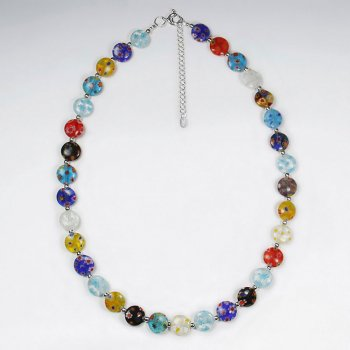 "16.5"" Adjustable Multi-Hued Glass Bead Embellished Sterling  Silver  Necklace"