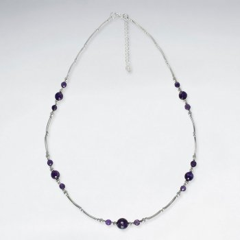 """16.5"""" Adjustable Purple Amethyst Spaced Charm Necklace in sterling Silver"""