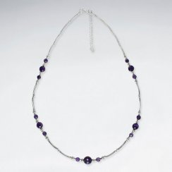 "16.5"" Adjustable Purple Amethyst Spaced Charm Necklace in sterling Silver"