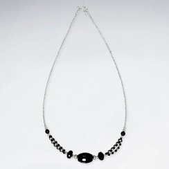 "16.5"" Adjustable Radiant Sterling Silver Necklace With Faceted Black Stone Charms"