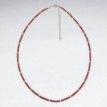 "16.5"" Adjustable Ravishing Red Glass Bead Sterling Silver Necklace"