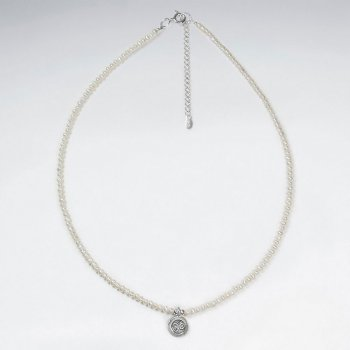 "16.5"" Adjustable Romantic Solhouette Pearl Necklace in Sterling Silver With Round Pendant"