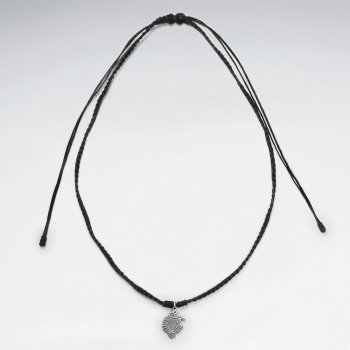 """16.5"""" Adjustable Simple Beauty Black Macrame Waxed Cotton Necklace With Silver Organic Charm"""