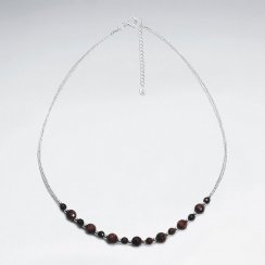 "16.5"" Adjustable Sleek Tiger Eye and Sterling Silver Bead Necklace"