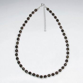 "16.5"" Adjustable Smoky Quartz and Sterling Silver Clasp Bead Necklace"