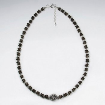 "16.5"" Adjustable Smoky Quartz and Sterling Silver Necklace"