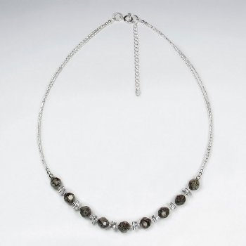 "16.5"" Adjustable Smoky Quartz Studded Accent Necklace in Sterling Silver"
