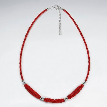 """16.5"""" Adjustable Sterling Silver and Red Glass Beaded Twisted Accent Strand Necklace"""