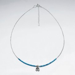 16.5'' Adjustable Sterling Silver Charm Necklace With Turquoise Beads