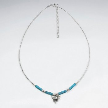 "16.5"" Adjustable Sterling Silver Fish Charm Necklace With Turquoise Tube Beads"