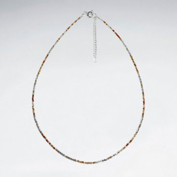 "16.5"" Adjustable Sterling Silver Necklace in Lovely Carnelian"