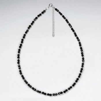 "16.5"" Adjustable Sterling Silver Necklace With  Black Stone Charms"