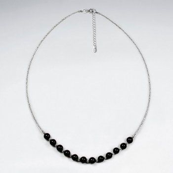 "16.5"" Adjustable Sterling Silver Necklace With Chunky Black Stone Beads"
