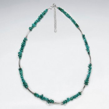 "16.5"" Adjustable Sterling Silver Necklace With Green Turquoise Beads"