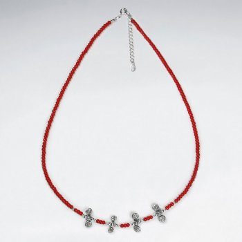 "16.5"" Adjustable Sterling Silver Necklace With Red Glass Beads and Silver Charms"