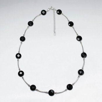 "16.5"" Adjustable Sterling Silver Necklace With Spaced Faceted Black Stone Charms"