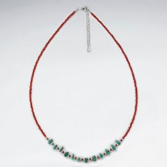"16.5"" Adjustable Sterling Silver Turquoise and Red Glass Bead Necklace"
