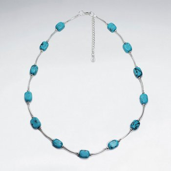 "16.5"" Adjustable Sterling Silver Turquoise Necklace"