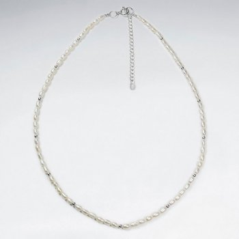 "16.5"" Adjustable Stunning Pearl Studded Sterling Silver Necklace"