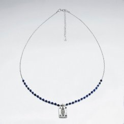 "16.5"" Adjustable Stunning Sterling Silver Necklace With Lapis Lazuli Bead and Etched Charm"