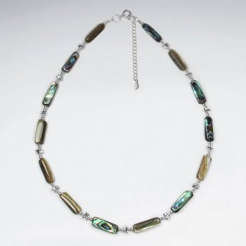 "16.5"" Adjustable Stylish Abalone and Sterling Silver  Necklace"