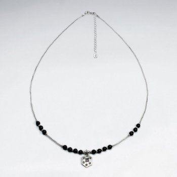 "16.5"" Adjustable Stylish Black Stone Studded Sterling Silver Necklace With Drop Charm"