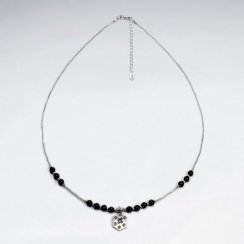 """16.5"""" Adjustable Stylish Black Stone Studded Sterling Silver Necklace With Drop Charm"""