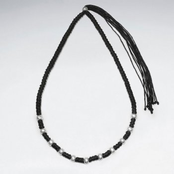 "16.5"" Adjustable Stylish Thick Wrap Waxed Cotton Twist Macrame Necklace With Staggered Silver Bead Charms"