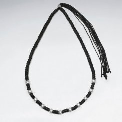 """16.5"""" Adjustable Stylish Thick Wrap Waxed Cotton Twist Macrame Necklace With Staggered Silver Bead Charms"""