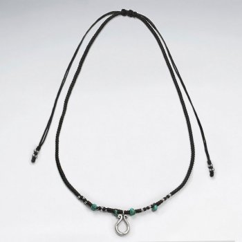 "16.5"" Adjustable Sweet Classic Black Waxed Cotton Macrame Necklace With Turquoise Accent Beads and Open Silver Horseshoe Charm"