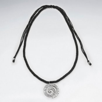 "16.5"" Adjustable Thick Waxed Cotton Black Woven Necklace With Silver Open Textured Swirl Charm"