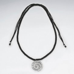 """16.5"""" Adjustable Thick Waxed Cotton Black Woven Necklace With Silver Open Textured Swirl Charm"""