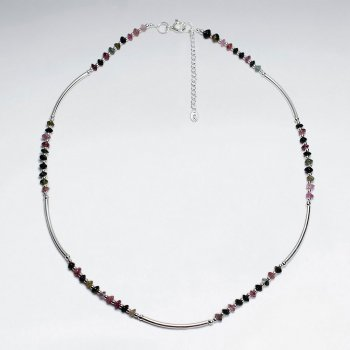 "16.5"" Adjustable Tourmaline Beaded Pattern Sterling Silver Necklace"