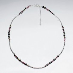 """16.5"""" Adjustable Tourmaline Beaded Pattern Sterling Silver Necklace"""