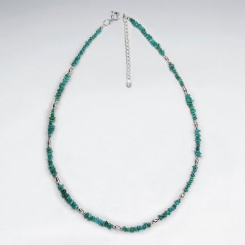 "16.5"" Adjustable Turquoise Necklace in Sterling Silver"