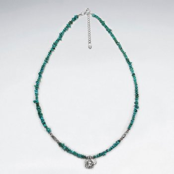 "16.5"" Adjustable Turquoise Necklace in Sterling Silver With Pendant"