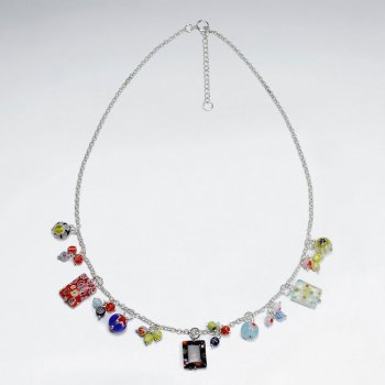 "16.5"" Adjustable Unique Sterling Silver Glass Bead Charm Necklace"