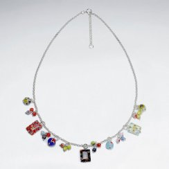 """16.5"""" Adjustable Unique Sterling Silver Glass Bead Charm Necklace"""