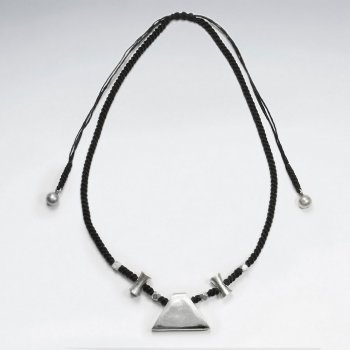"16.5"" Adjustable Unique Waxed Cotton Twist Macrame Necklace With Organic Silver Charms"