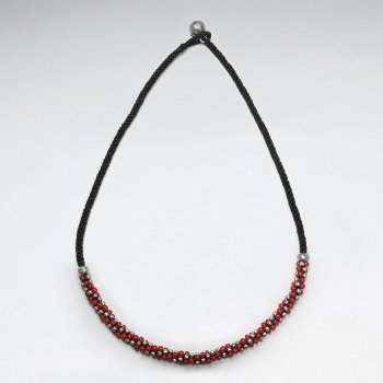 "16.5"" Black Waxed Cotton Macrame Silver and Red Glass Bead Accent Necklace"
