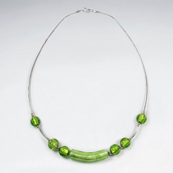"16.5"" Bold and Beautiful Green Glass Bead Sterling Silver Necklace"