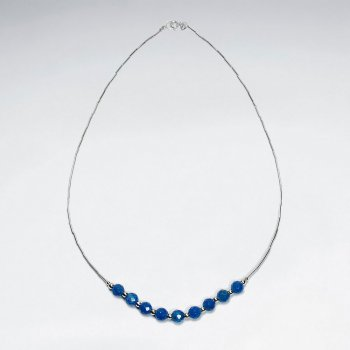 16.5'' Elegant Sterling Silver Necklace With Agate Gems