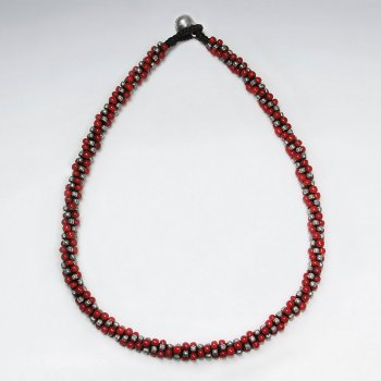 "16.5"" Festive Thick Waxed Cotton Macrame Silver and Glass Red Bead Wrap Necklace"