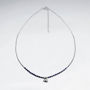 "16.5"" Lapis Lazuli Necklace With Antique Thai Money Silver Charm"